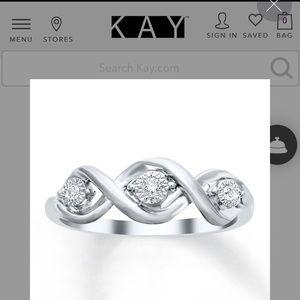 Kay Three-Stone Diamond Ring Sterling Silver